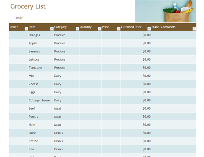 Lists Office – Grocery List Template Excel Free Download