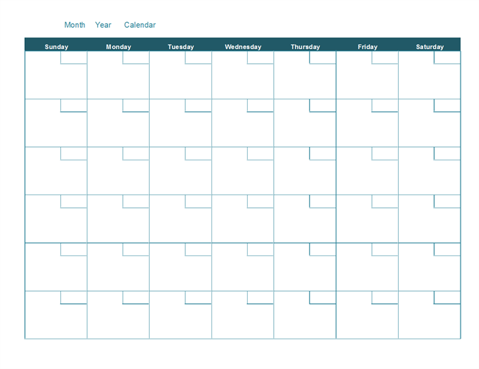 Monthly Calendar Without Year : Blank monthly calendar