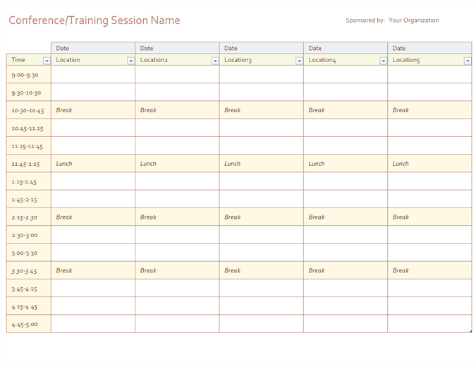 Daily schedule for Roster timetable template