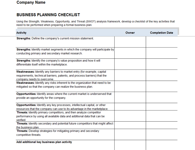 Business Plan Checklist  Microsoft Word Template Checklist