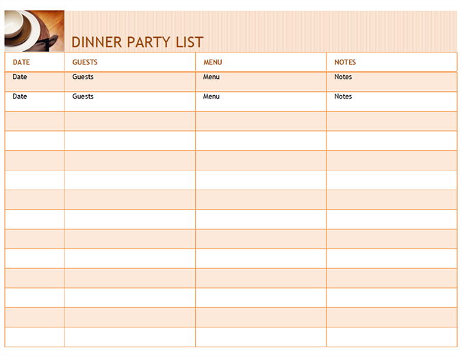 Dinner party list with menu