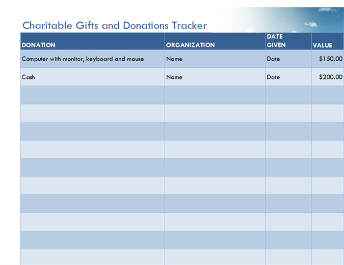 Charitable gifts and donations tracker (simple)