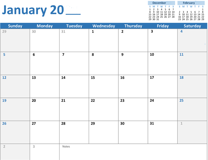 Any Year Monthly Calendar  Daily Agenda Template