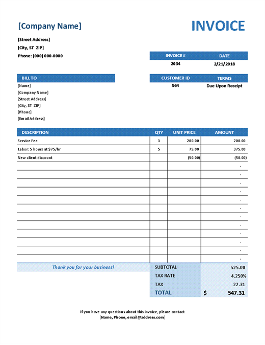 Simple Service Invoice  Hourly Rate Invoice Template