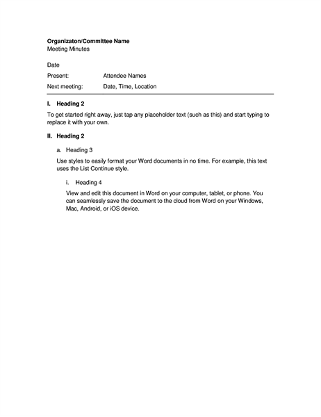 Minutes For Organization Meeting (short Form)  Minutes Example