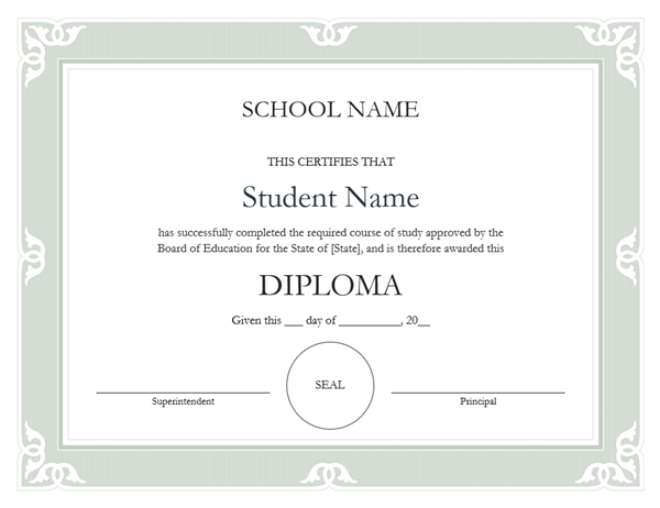 High school diploma certificate (Fancy design)
