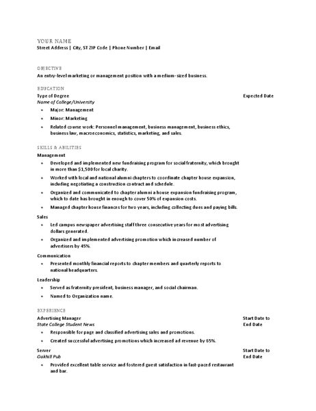 Resume For Recent College Graduate  Sales Job Resume