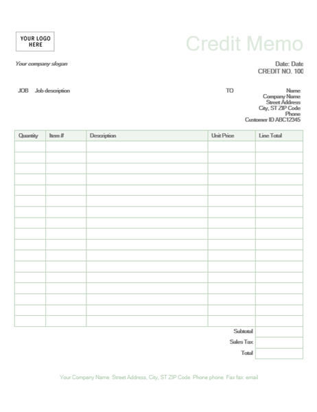 Credit memo (Green design)