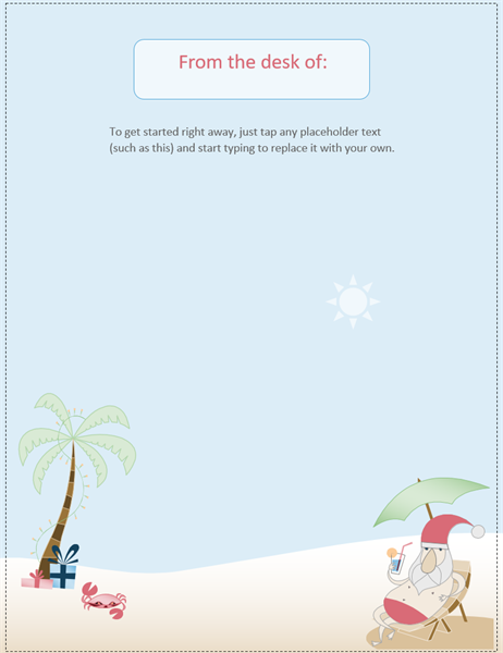 Stationery (Summer Santa design)