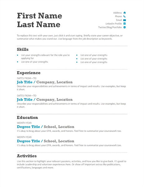 Balanced Resume (Modern Design)  Microsoft Word Resume Template 2013
