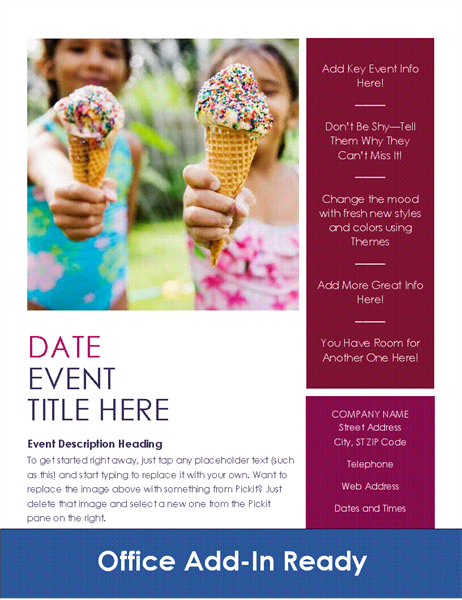 Event Flyer With Pickit Add In  Free Microsoft Word Flyer Templates