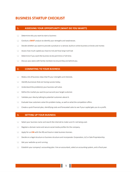 Business Startup Checklist  Business Manual Templates