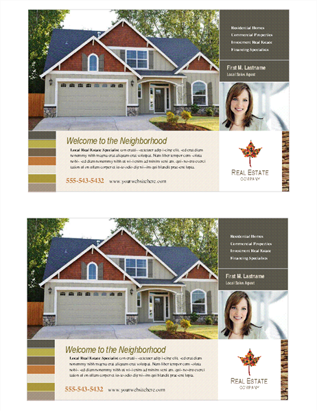 Real estate flyer (half-page, 2 per page)