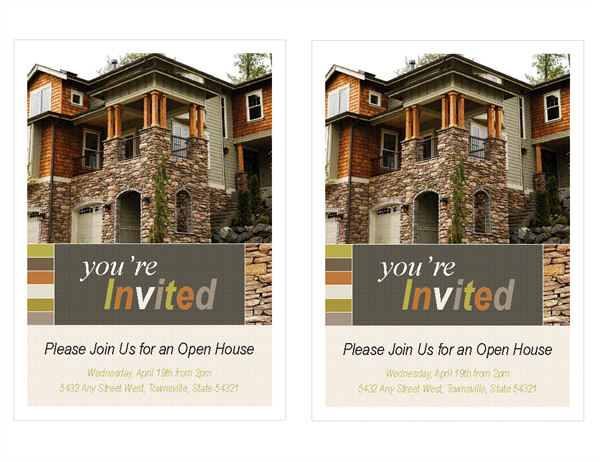 Real estate open house invitation (2 per page)
