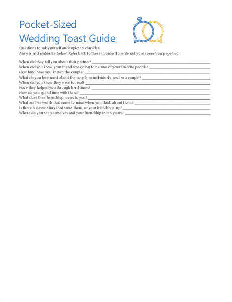 Pocket Wedding Toast Planner