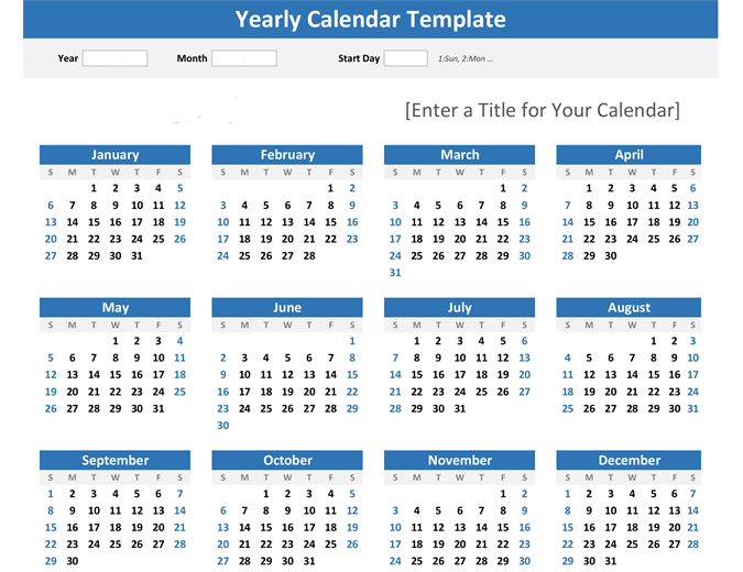 any year at a glance calendar landscape