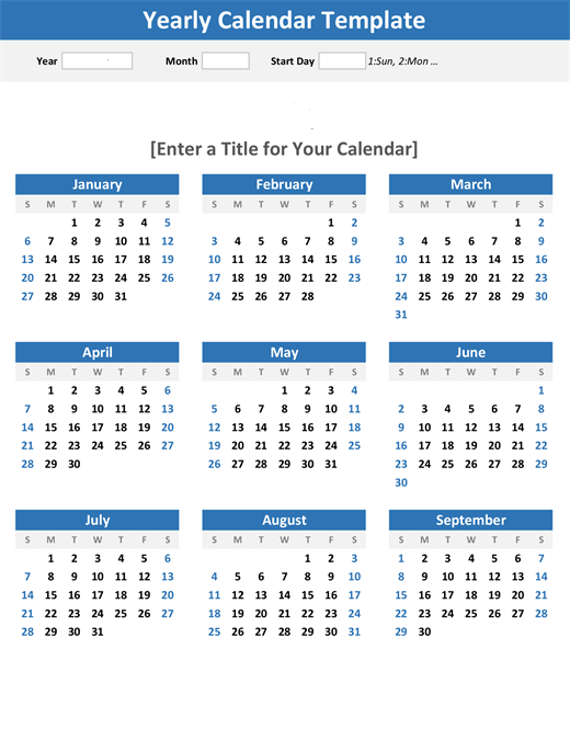 Any year at a glance calendar (portrait)