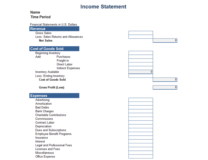 Income Statement 1 Year