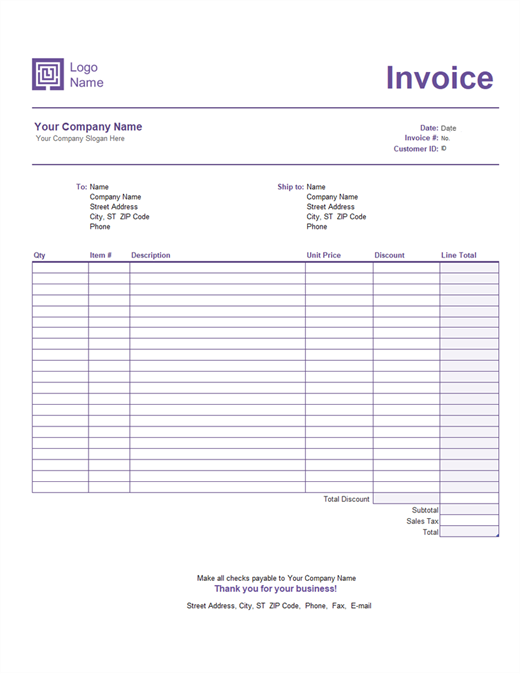 Invoices Officecom - Template for invoice free download