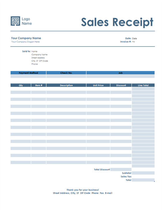 Sales receipt (Simple Blue design)