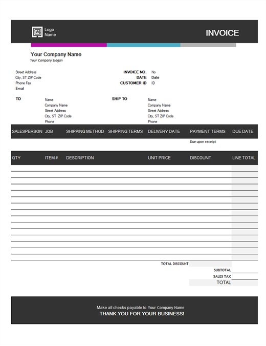 sales invoice blue gradient design