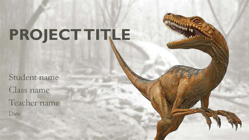 School report presentation with dinosaur models