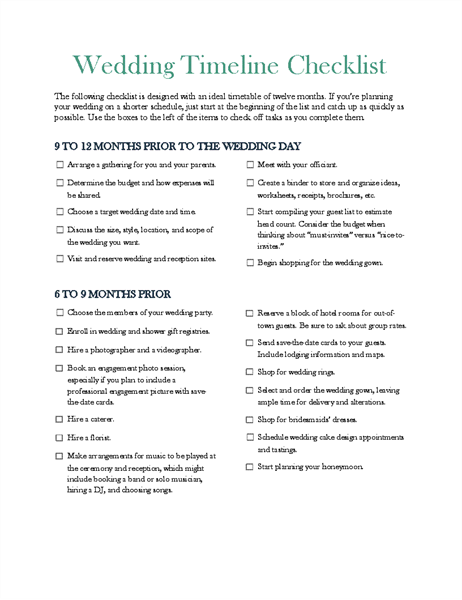 Wedding timeline checklist