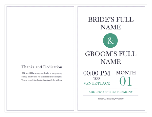 Wedding Officecom - 5x7 wedding program template