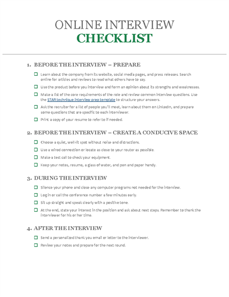 Online interview checklist