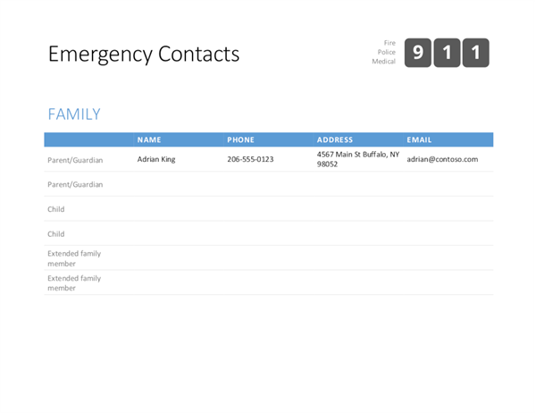 Lists office bold emergency contact list cheaphphosting Image collections