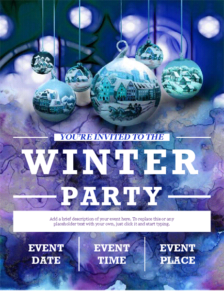 Elegant winter party flyer