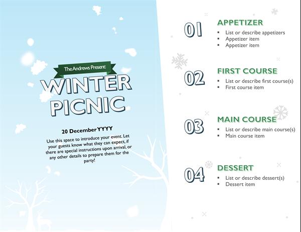 Snowy holiday menu
