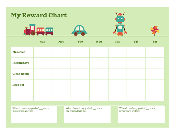 Monday to Friday reward chart