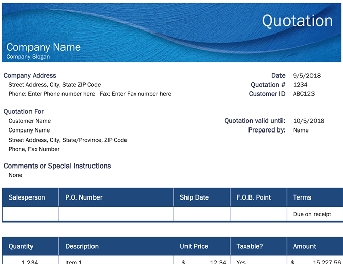 Business price quotation