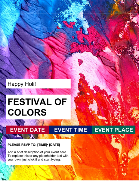 Festival of colors Holi flyer