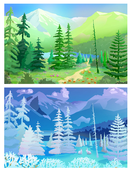 Wilderness scenes  greeting cards (half-fold)