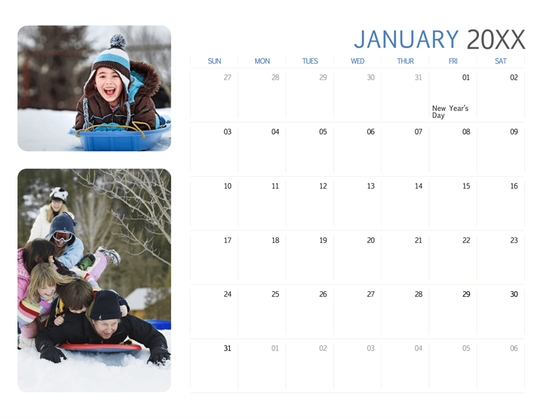 All-year photo calendar (Sun-Sat)