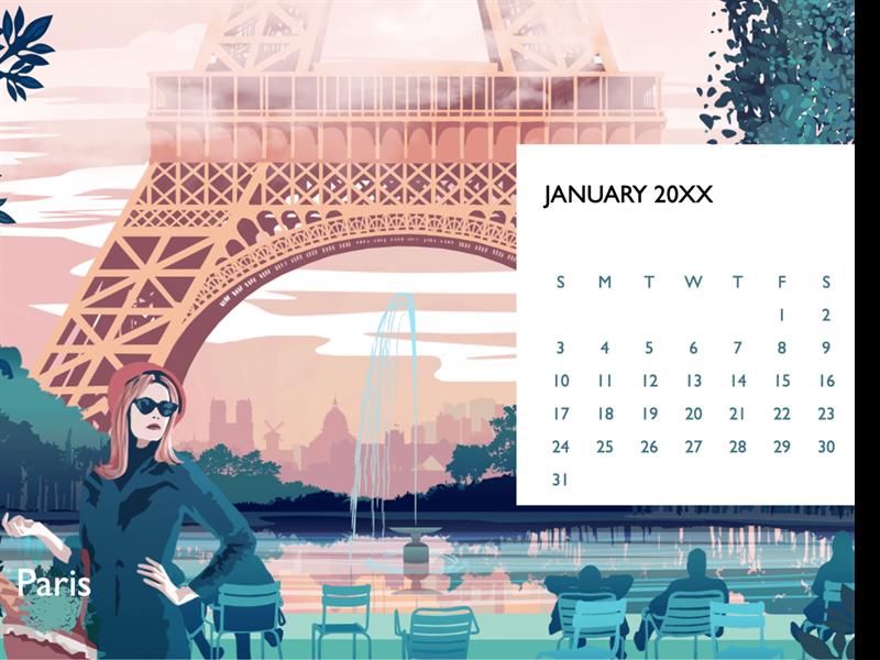 Cityscape monthly calendar