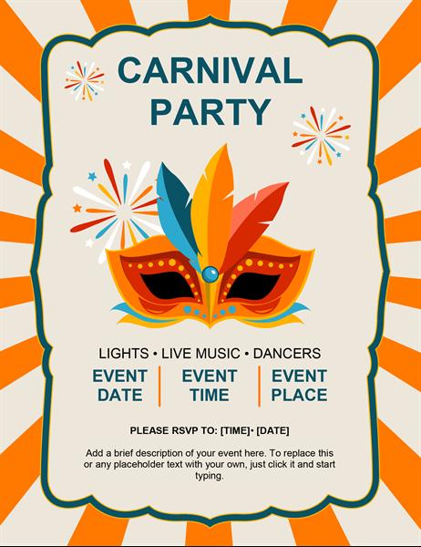 Carnival mask flyer