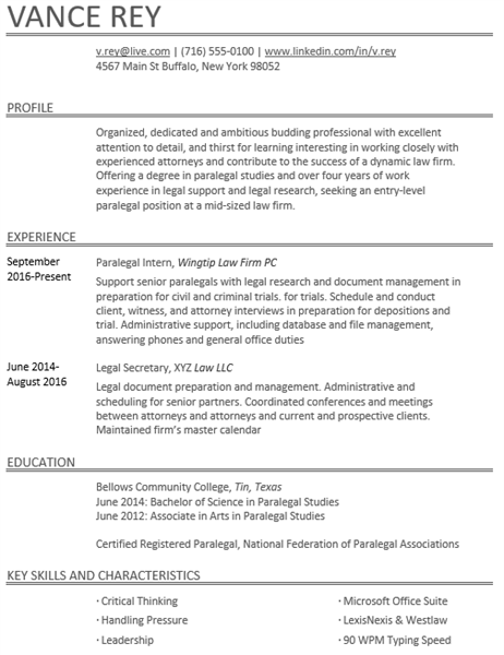 Paralegal resume