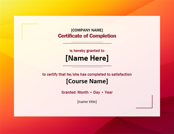 Bold certificate of completion