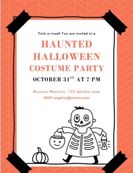 Skeleton Halloween invitation