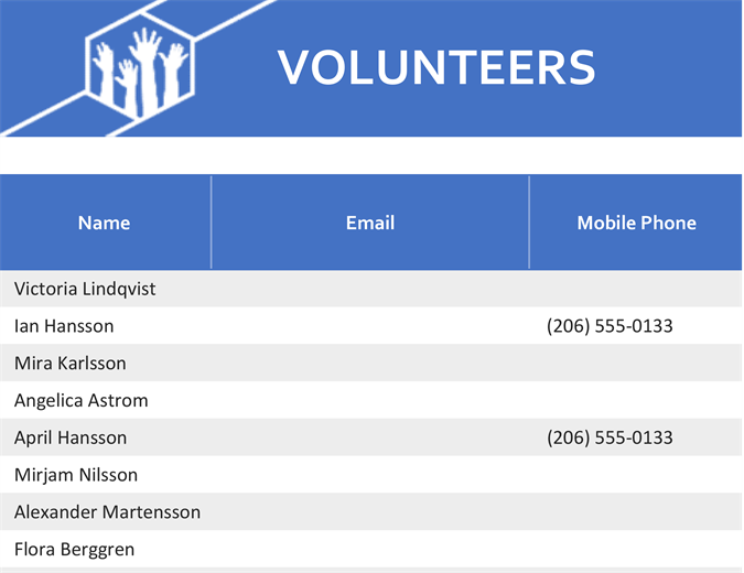 Volunteer assignments