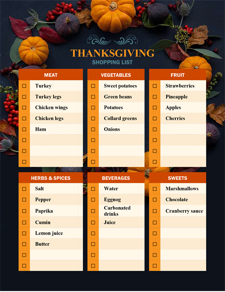 Nature's bounty Thanksgiving shopping list