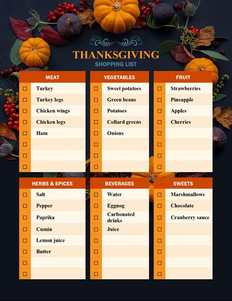 Nature's bounty Thanksgiving shopping list