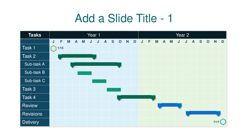 Blue two year Gantt chart