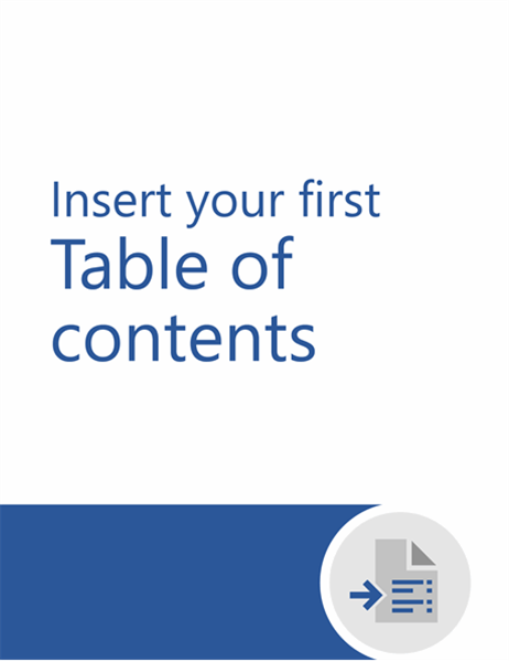 Insert your first table of contents tutorial