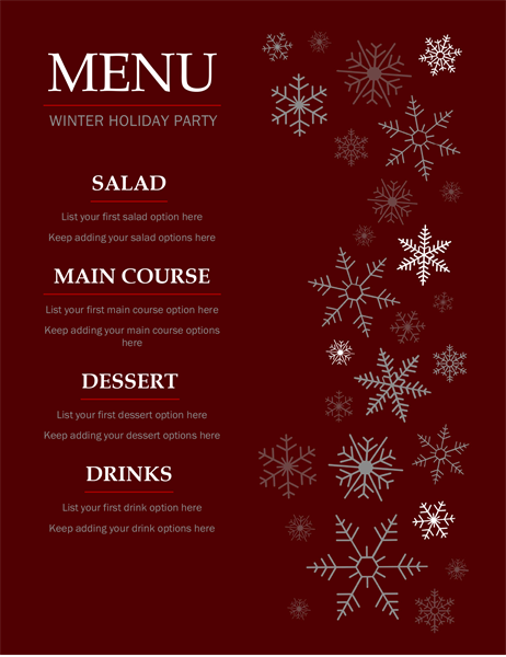 Elegant holiday menu