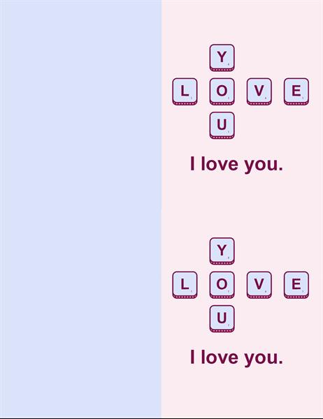 Word game Valentine's card