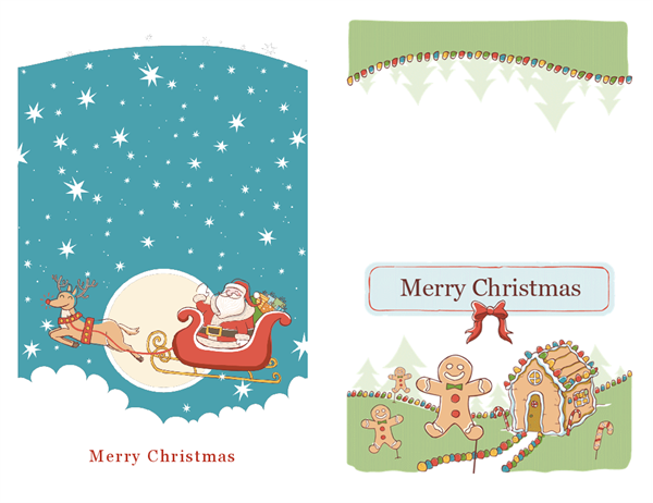 Santa and gingerbread holiday cards